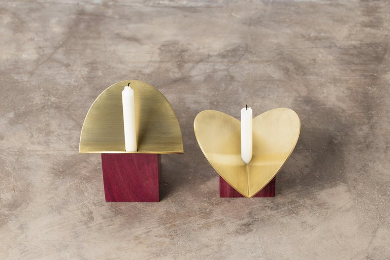 Brass  Set of Contemporary Wooden Vases and Candlesticks, Cangaço Collection For Sale