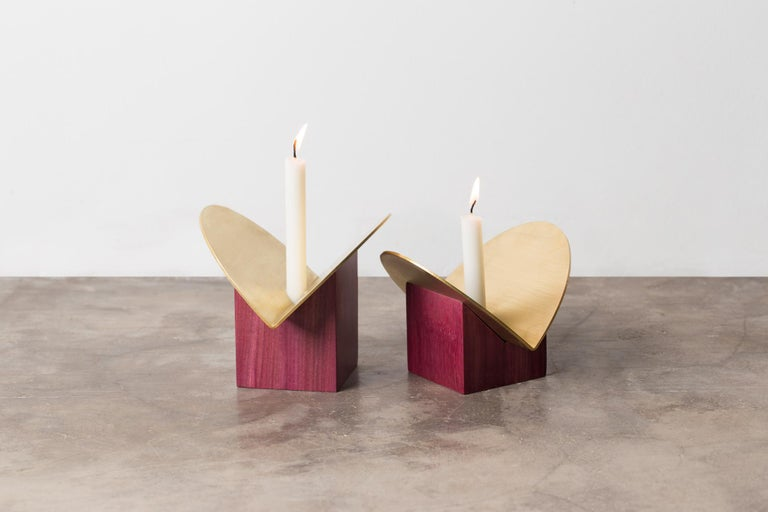 Set of Contemporary Wooden Vases and Candlesticks, Cangaço Collection For Sale 2