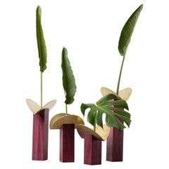 Set of Contemporary Wooden Vases and Candlesticks, Cangaço Collection
