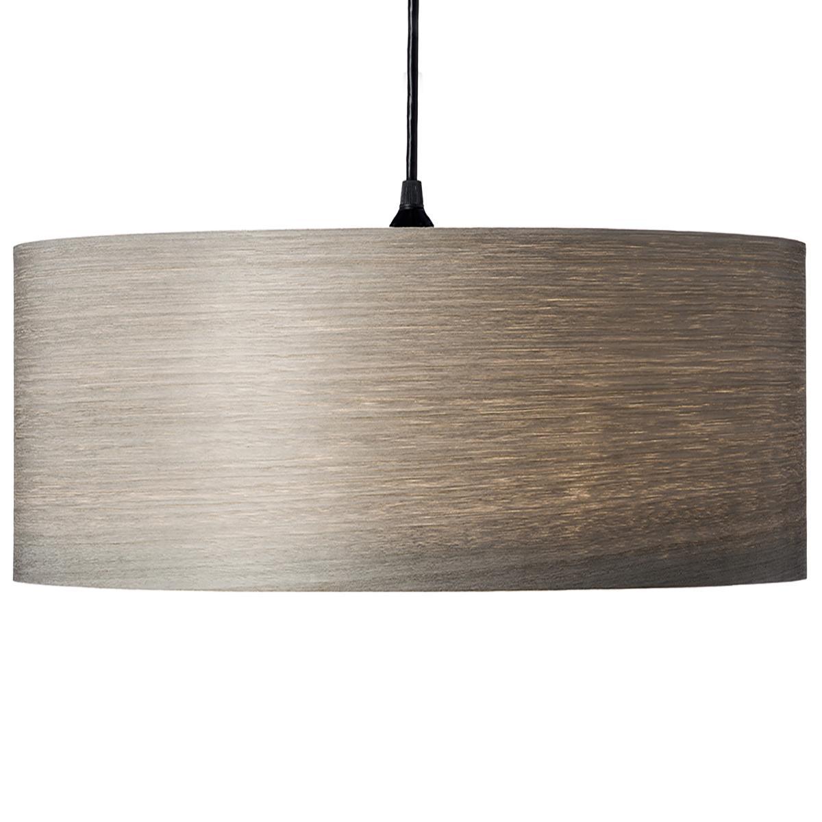 Mid-Century Modern gray wood veneer drum pendant