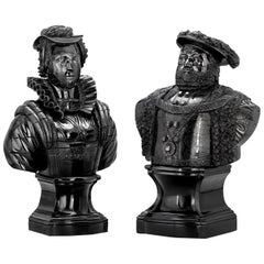 Cannel Coal Busts of Henry VIII and Mary, Queen of Scots