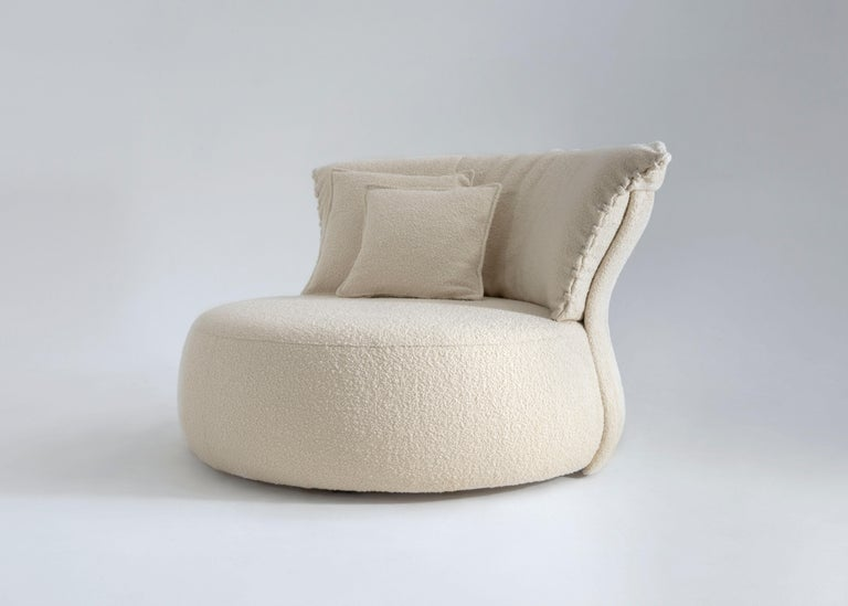 Italian Contemporary Circular Single Sofa by Hessentia Upholstered in Fabric, Off-White For Sale