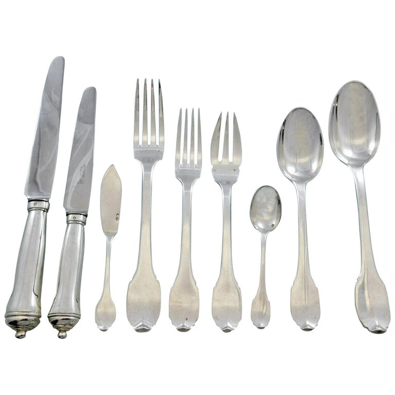 Cannon Handle by Boin-Taburet French 950 Silver Flatware Set Service Paris 54 Pc For Sale