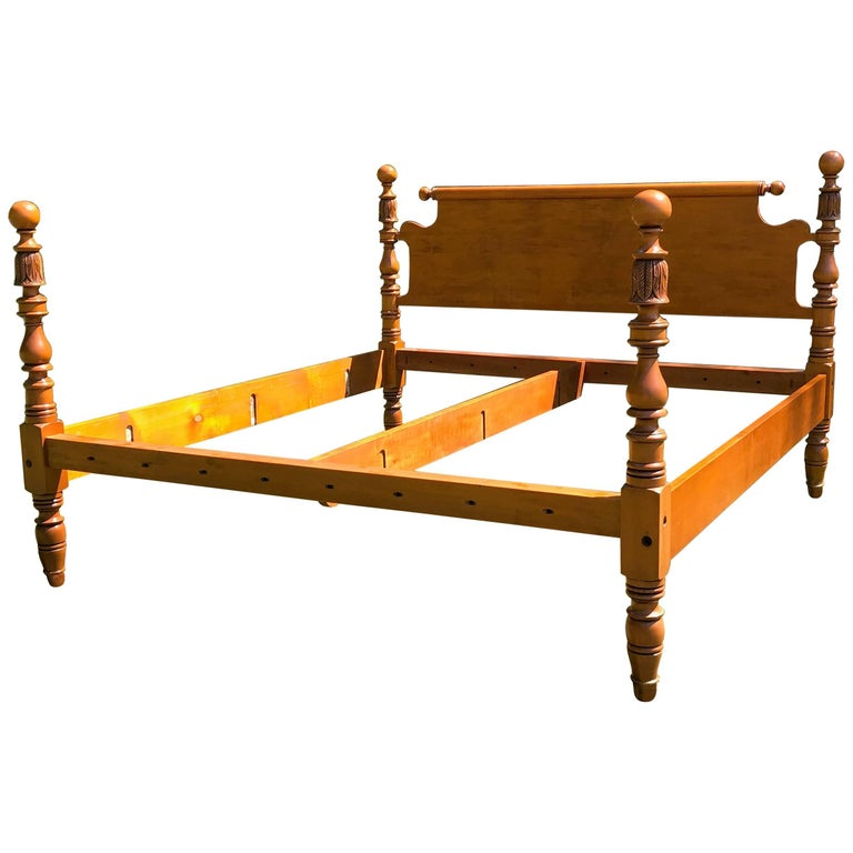 Cannonball And Feather Carved Reproduction King Four Post Bed In