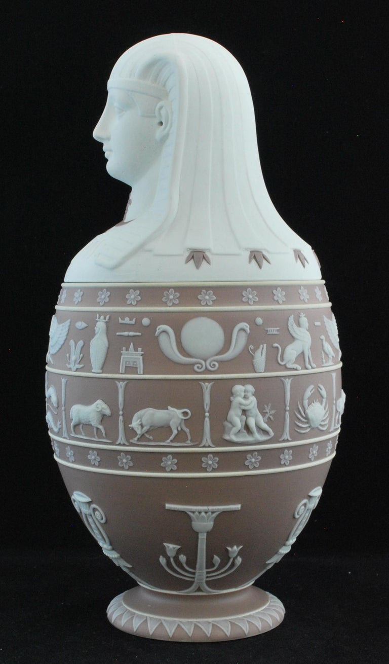 A superb canopic jar in lilac and white jasper, artfully combining features and pseudo-hieroglyphs taken from D'Hancarville's Antiquities.  These were produced by Wedgwood from time to time, in response to public interest in things Egyptian. There
