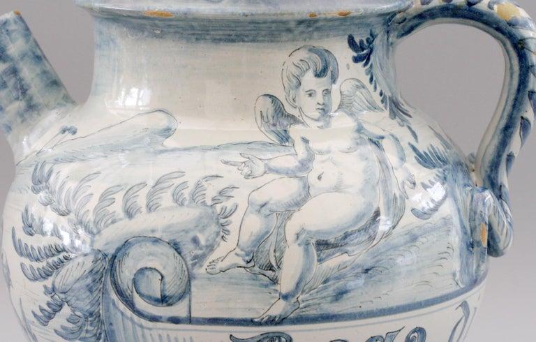 Cantagalli Italian Maiolica Acqa di Papueri Drug Jar, 19th Century For Sale 4