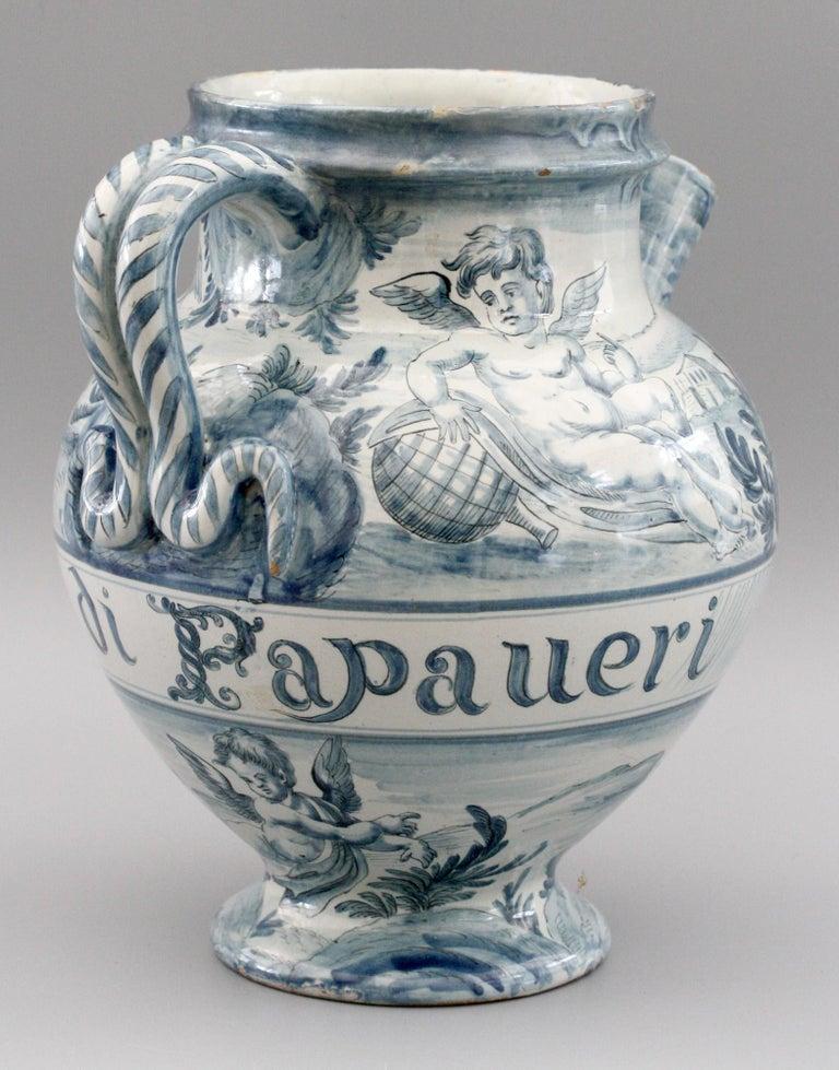 Other Cantagalli Italian Maiolica Acqa di Papueri Drug Jar, 19th Century For Sale