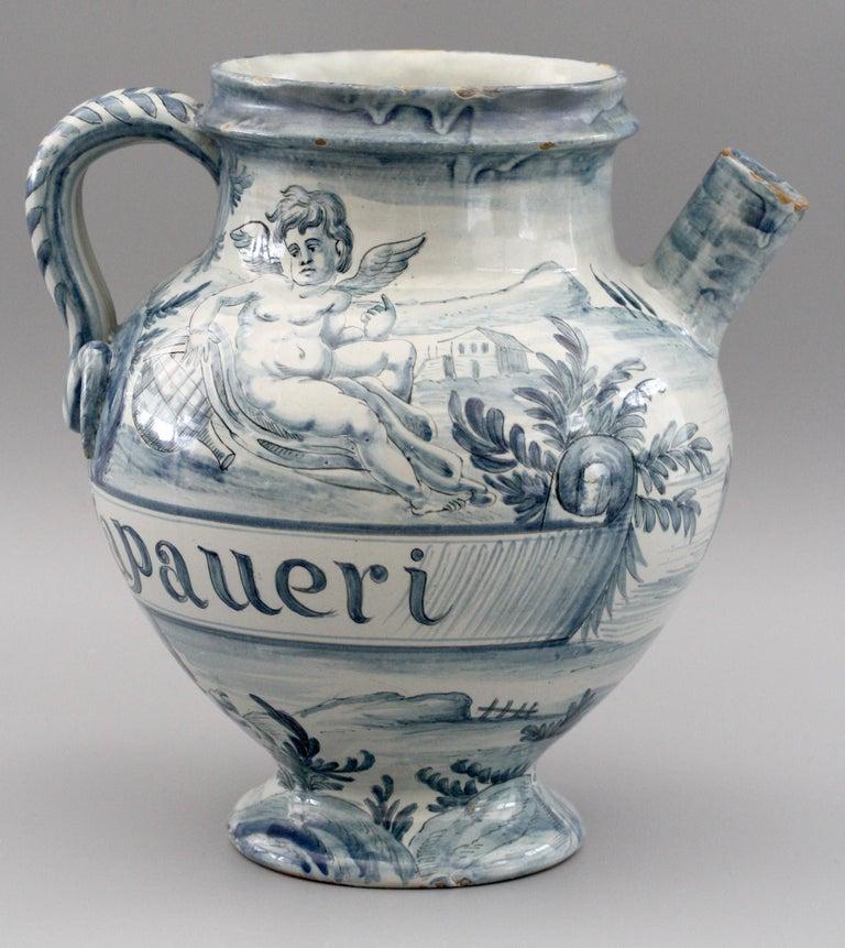 Hand-Painted Cantagalli Italian Maiolica Acqa di Papueri Drug Jar, 19th Century For Sale
