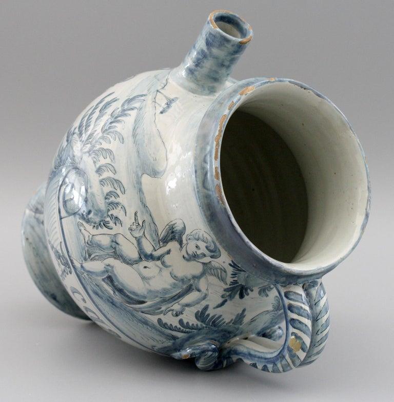Cantagalli Italian Maiolica Acqa di Papueri Drug Jar, 19th Century In Good Condition For Sale In Bishop's Stortford, Hertfordshire