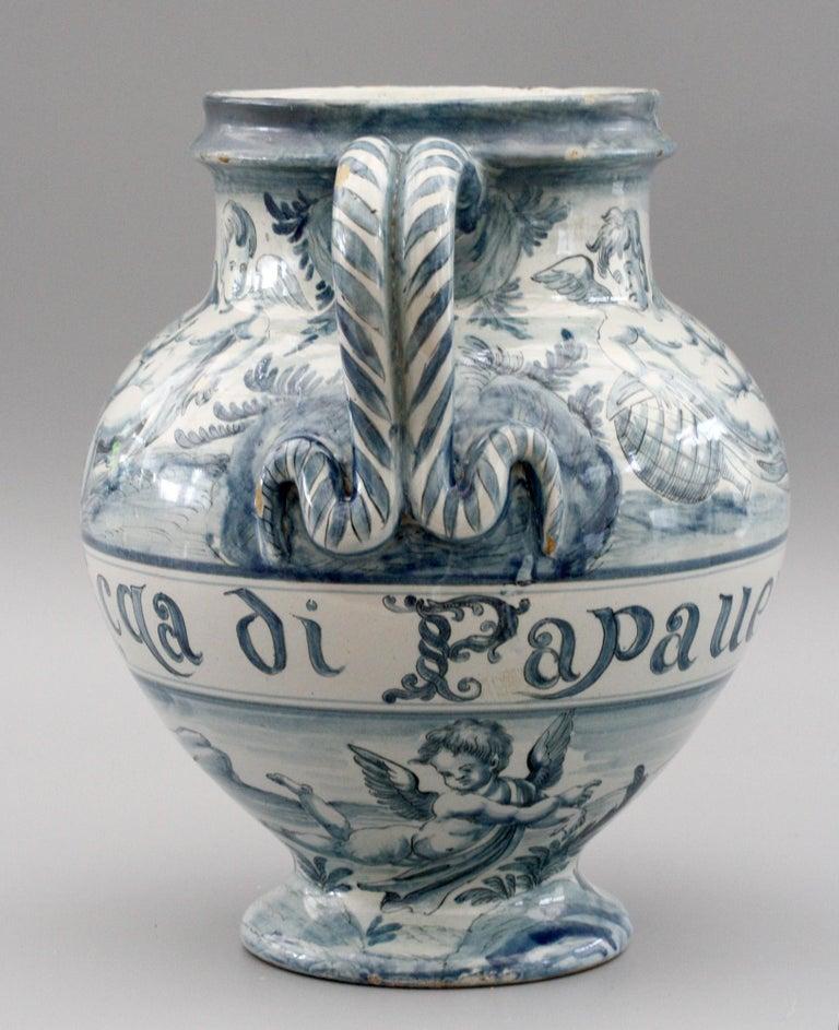 Pottery Cantagalli Italian Maiolica Acqa di Papueri Drug Jar, 19th Century For Sale