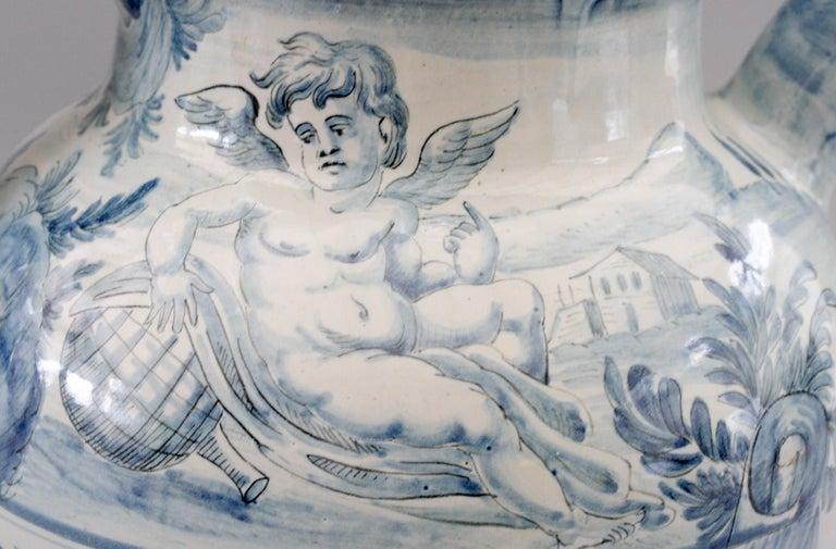 Cantagalli Italian Maiolica Acqa di Papueri Drug Jar, 19th Century For Sale 1