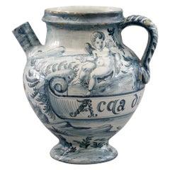Cantagalli Italian Maiolica Acqa di Papueri Drug Jar, 19th Century