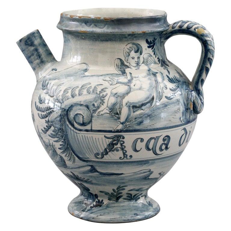 Cantagalli Italian Maiolica Acqa di Papueri Drug Jar, 19th Century For Sale