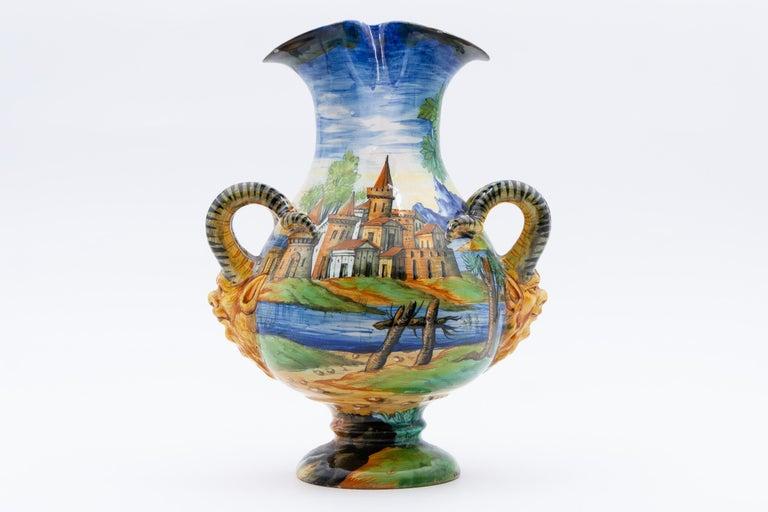 Cantagalli Italian Renaissance Revival Maiolica Vase, circa 1890 In Excellent Condition For Sale In Fort Lauderdale, FL