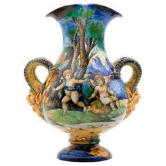 Cantagalli Italian Renaissance Revival Maiolica Vase, circa 1890
