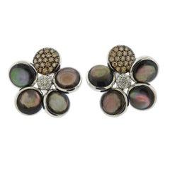 Cantamessa Gold Fancy Diamond Mother of Pearl Flower Earrings