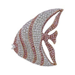 Cantamessa Pink Diamond Gold Fish Brooch