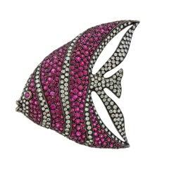 Cantamessa Ruby Diamond Gold Fish Brooch Pendant