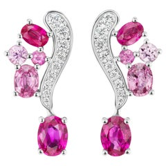 JAG New York Ruby with Pink Sapphire and Platinum Earrings