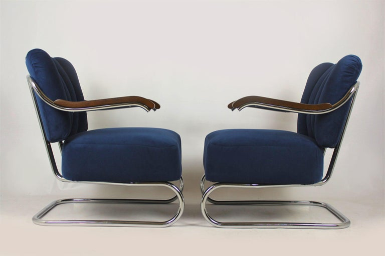 Bauhaus Cantilever Armchairs from Mücke Melder, 1930s, Set of Two For Sale