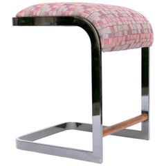 Cantilever Backless Chrome Stool by D I A, Purple Upholstery