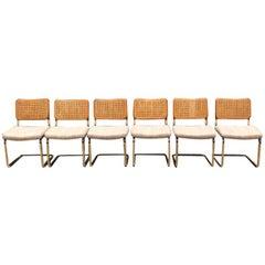 1980s Mid Century Cantilever Cesca Style Chrome Tubular Dining Chairs Set 6