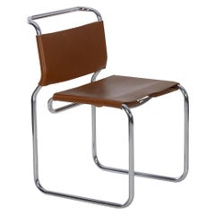 """Cantilever """"CH66"""" Chrome and Leather Tubular Side Chair by Nicos Zographos"""