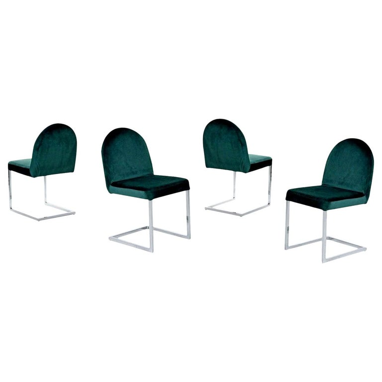 Cantilever Chrome Dining Chairs, 1970s Forest Green Velvet Milo Baughman Style For Sale