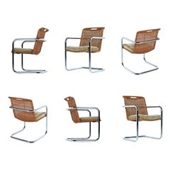 Cantilever Chrome Wicker Rattan Modern Dining Chairs by Chromcraft