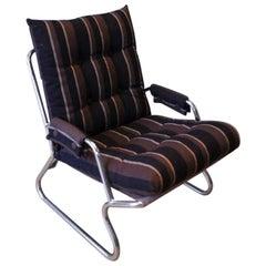 Cantilever Danish Tubular Chromed Lounge Armchair with Retro Striped Cushions
