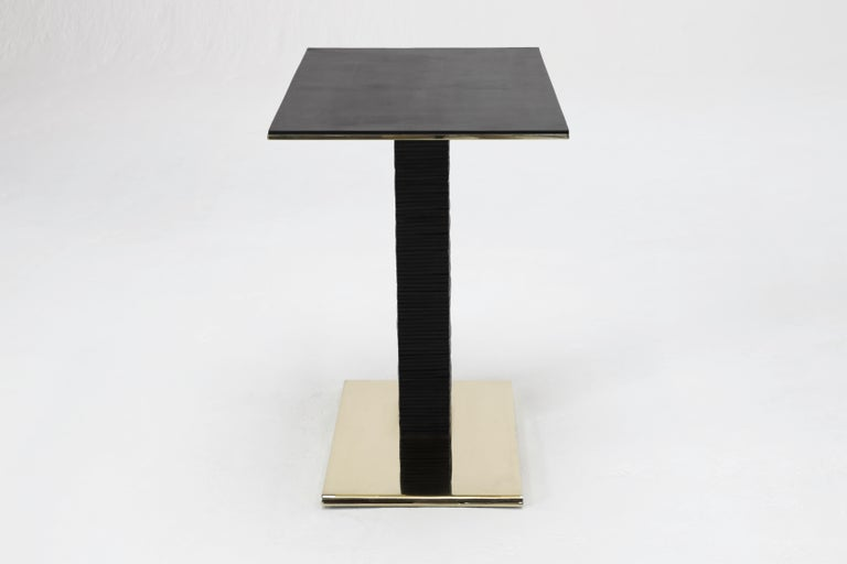 American Cantilever Infinity Side Table in stacked leather & solid brass by KREILING For Sale