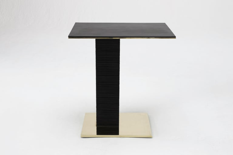 Modern Cantilever Infinity Side Table in stacked leather & solid brass by KREILING For Sale