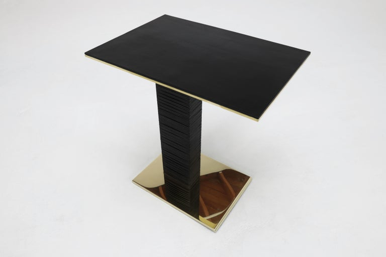 Polished Cantilever Infinity Side Table in stacked leather & solid brass by KREILING For Sale