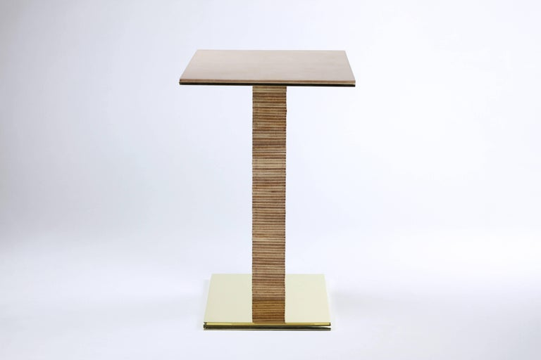 Mid-Century Modern Cantilever Infinity Side Table, stacked leather & brass by Christopher Kreiling For Sale