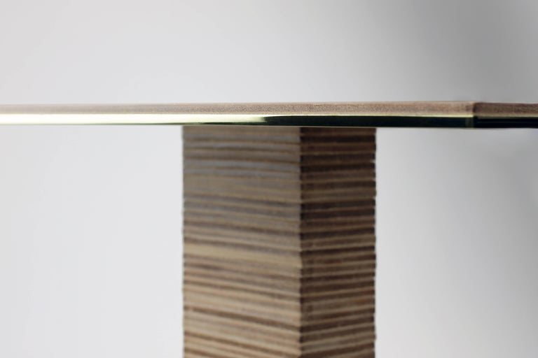 Contemporary Cantilever Infinity Side Table, stacked leather & brass by Christopher Kreiling For Sale