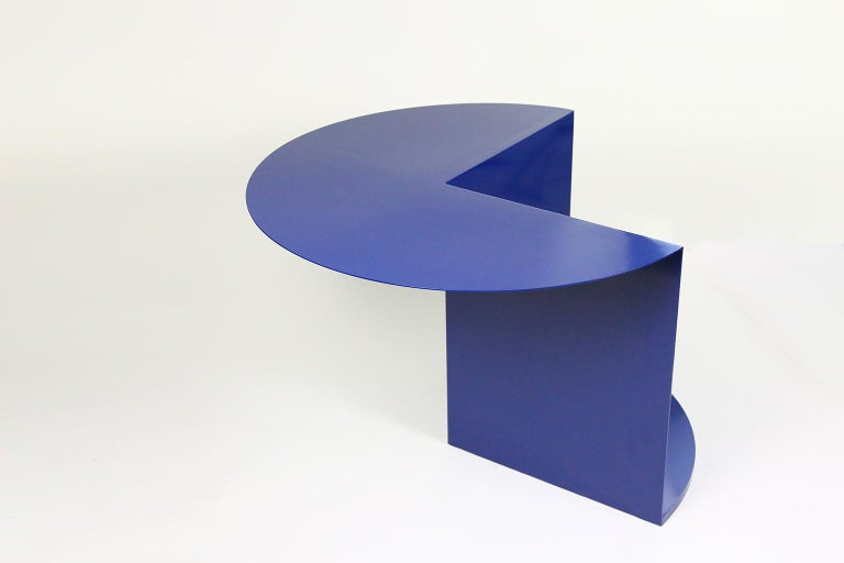 Powder-Coated 'Cantilever' Minimalist Coffee/Side Table, in Coated Steel, Customizable Color For Sale