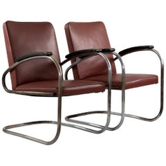 "Cantilever ""RS 7"" Two Dark Red Faux Leather Chairs, Manufactured by Mauser"