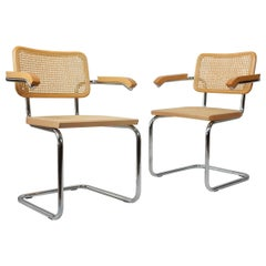 Cantilever Steel, Wood and Cane Armchairs S64 Marcel Breuer Bauhaus