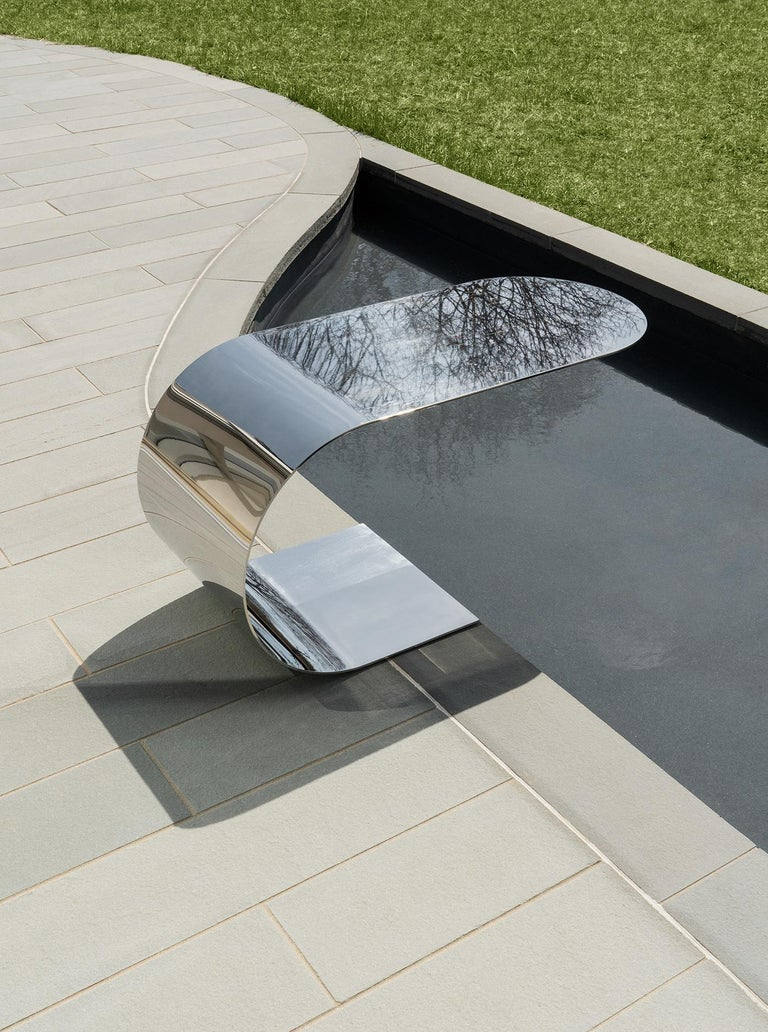 Brass Contemporary & minimalist Cantilever Table in recycled polished stainless steel For Sale