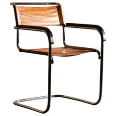 Cantilevered Armchair by Marcel Breuer for Thonet in Cognac Leather, 1930s