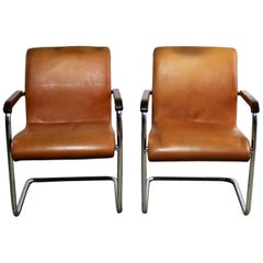 Cantilevered Chrome Cognac Leather Chairs Mid-Century Modern