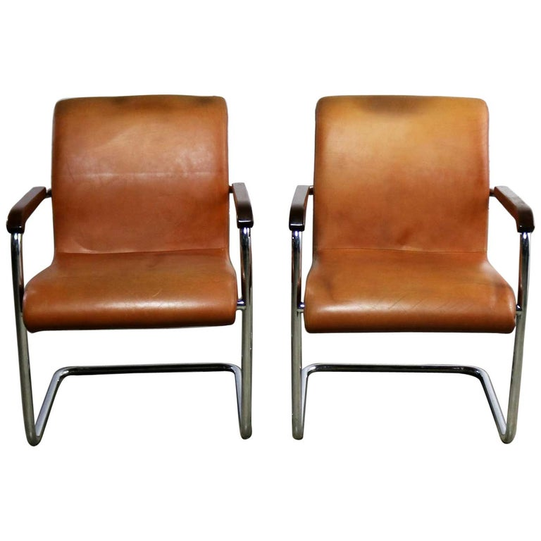 Brilliant Cantilevered Chrome Cognac Leather Chairs Mid Century Modern Pdpeps Interior Chair Design Pdpepsorg