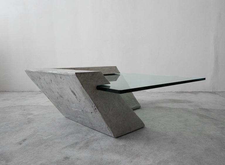 Cantilevered Faux Concrete Plaster and Glass Coffee Table In Excellent Condition For Sale In Las Vegas, NV