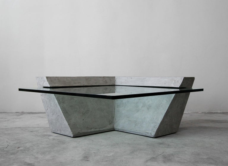 20th Century Cantilevered Faux Concrete Plaster and Glass Coffee Table For Sale