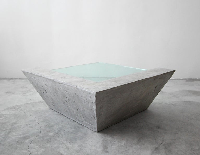 Ceramic Cantilevered Faux Concrete Plaster and Glass Coffee Table For Sale
