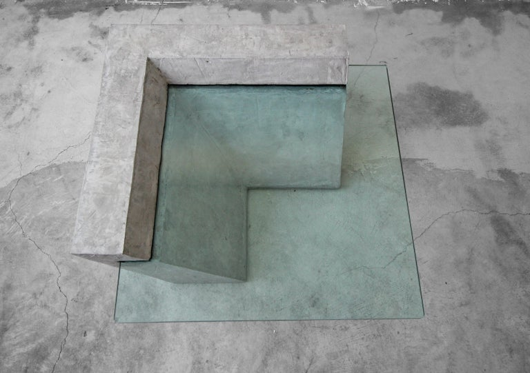 Cantilevered Faux Concrete Plaster and Glass Coffee Table For Sale 1