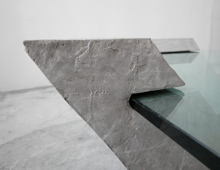 Cantilevered Faux Concrete Plaster and Glass Coffee Table For Sale 2