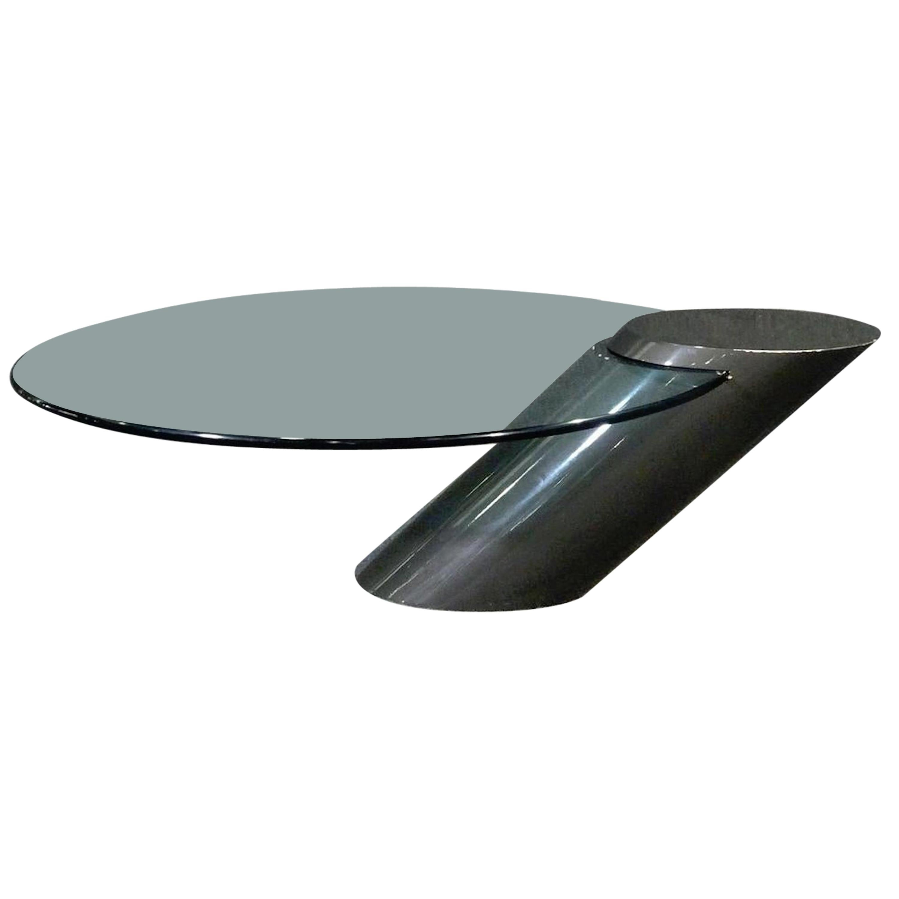 Cantilevered Glass Cocktail Table by Brueton