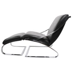 Cantilevered Leather and Chrome Lounge Chair and Ottoman by Paul Tuttle