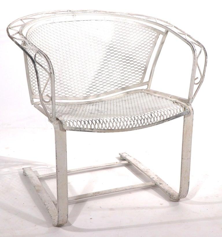 Mid-Century Modern Cantilevered Salterini Lounge Patio Garden Chair For Sale